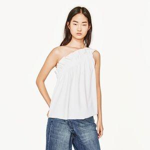 Zara Asymmetrical One Shoulder White Top